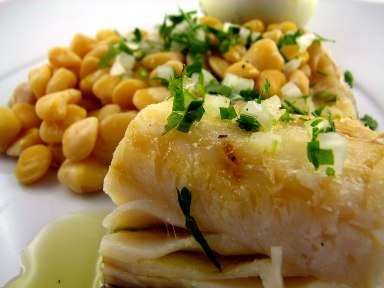 Bacalhau com Grao – Codfish & Chick Peas with Herb Vinaigrette