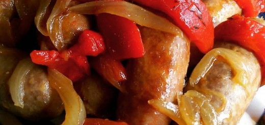 Sausages with Roasted Red peppers and onions