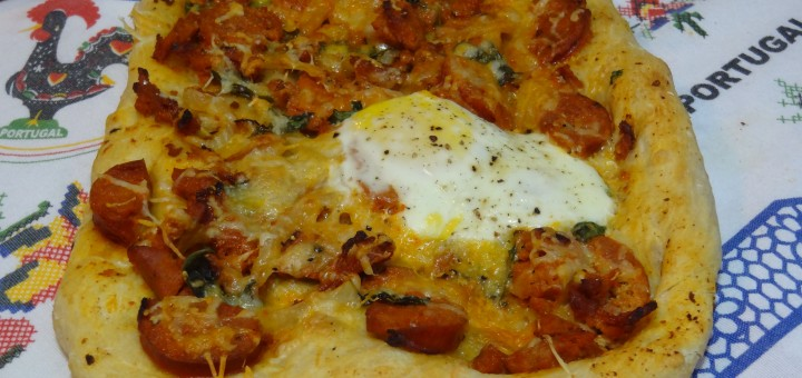 Chourico and egg Flat Bread
