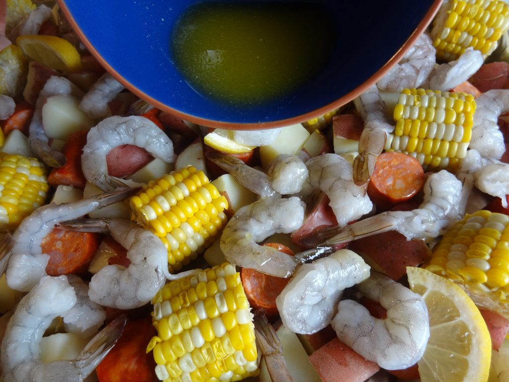 Portuguese sheet pan shrimp boil