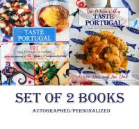 Get Signed and Personalized copies of both Taste Portugal Cookbooks Get signed and personalized copies of my 2 cookbooks. Pre-order my Taste Portugal More Easy Portuguese recipes cookbook and my Taste Portugal 101 easy recipes cookbook. 10% off Pre-launch special.